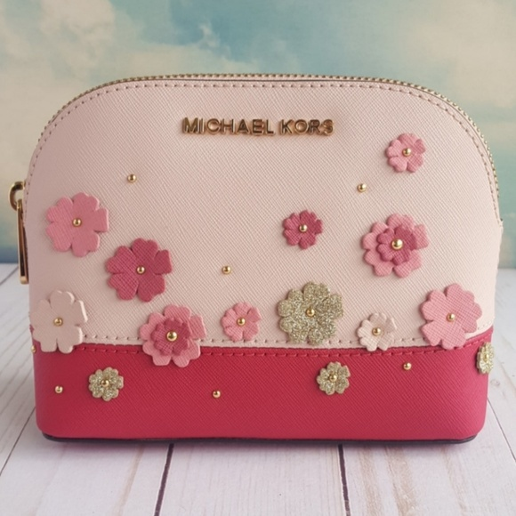 Michael Kors Women's Emmy Travel Pouch Make up Case Bag Floral Blossom Tulip